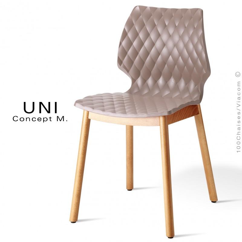 Chaise design coque effet matelassé UNI piétement 4 pieds bois arrondie naturel, assise couleur gris tourterelle