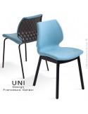 Collection chaise design effet matelassé UNI, piètement bois vernis ou acier peint