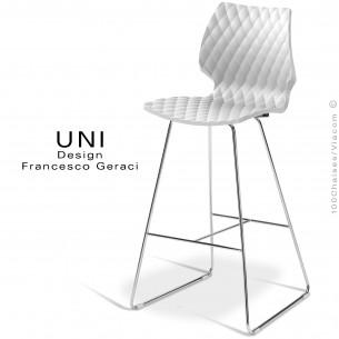Tabouret de bar design UNI assise coque effet matelassé couleur blanc, piétement luge chromé.