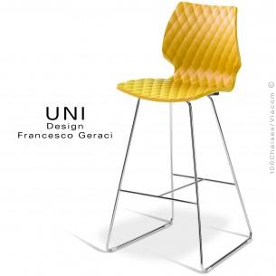 Tabouret de bar design UNI assise coque effet matelassé couleur jaune, piétement luge chromé.