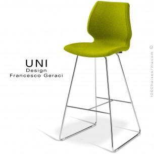 Tabouret de bar UNI assise coque effet matelassé noir, habillage tissu Laine, couleur vert, piétement luge acier chromé