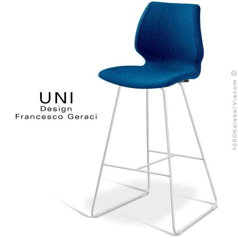 Tabouret de bar UNI assise coque effet matelassé noir, habillage tissu Laine bleu, piètement finition peint blanc