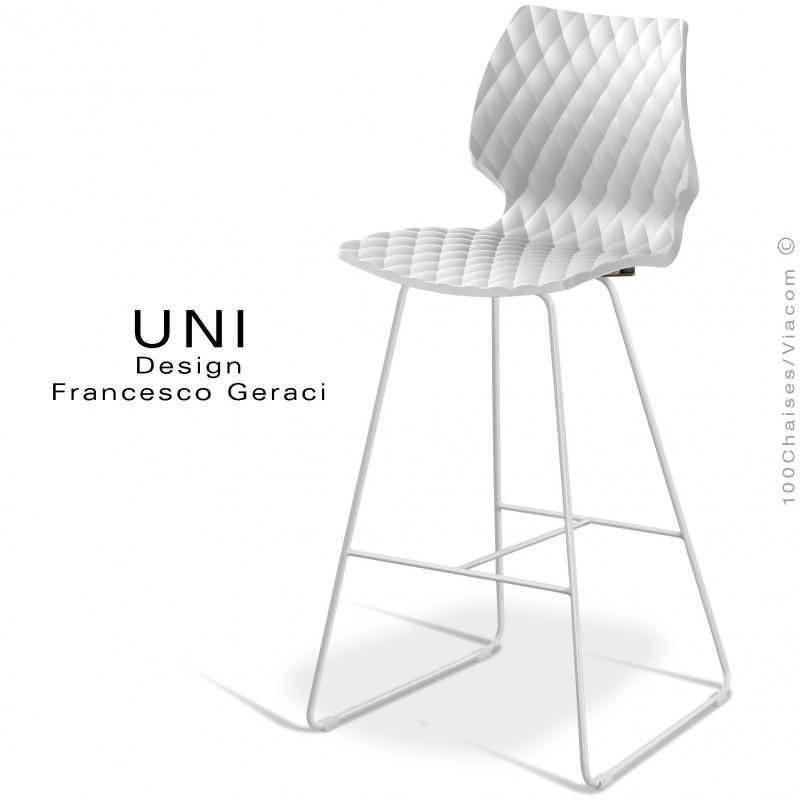 Tabouret de bar design UNI assise coque effet matelassé couleur blanche, piétement luge peint blanc