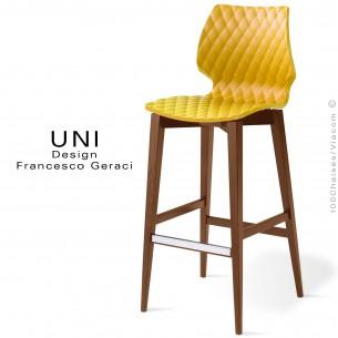 Tabouret de bar UNI assise coque effet matelassé couleur jaune, piétement bois teinté noyer