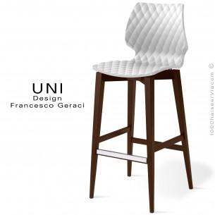 Tabouret de bar UNI assise coque effet matelassé, couleur blanche, piètement bois vernis wengé