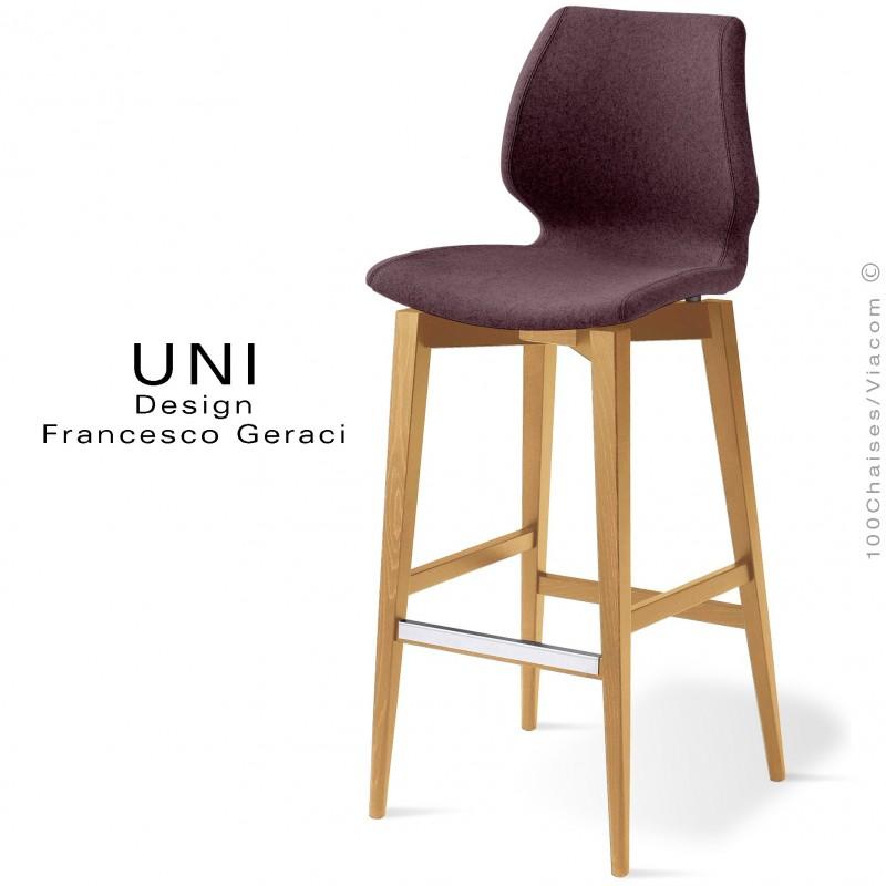 Tabouret de bar UNI assise coque effet matelassé dos noir, habillage tissu Laine marron, piétement 4 pieds teinté naturel
