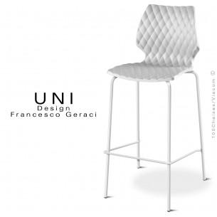 Tabouret de bar UNI pieds acier peint blanc, assise coque couleur blanche.