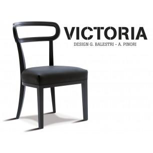 VICTORIA chaise en bois de hêtre, habillage tissu aspect cuir T1/365, bois finition charbon.