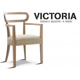 VICTORIA fauteuil, finition naturel habillage tissu gamme T1/310 (crème).