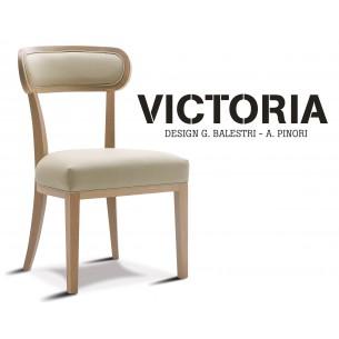 VICTORIA chaise dossier garnie, teinte naturel, habillage tissu T1/310 (aspect cuir).