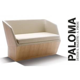 PALOMA banquette, habillage tissu T1/310, finition bois cerise.