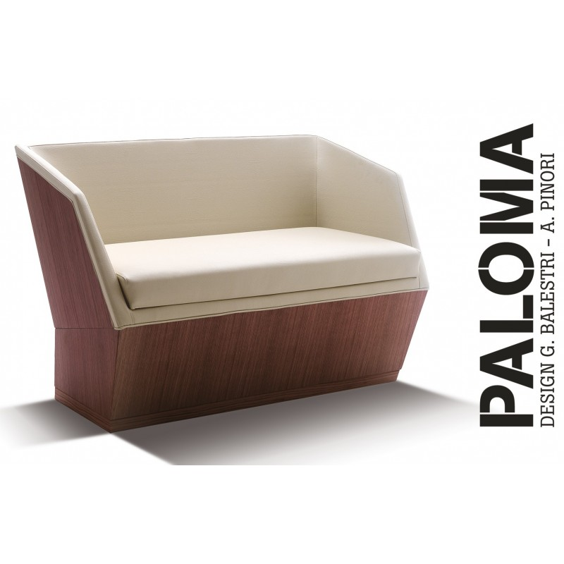 PALOMA banquette, habillage tissu T1/310, finition bois acajou.