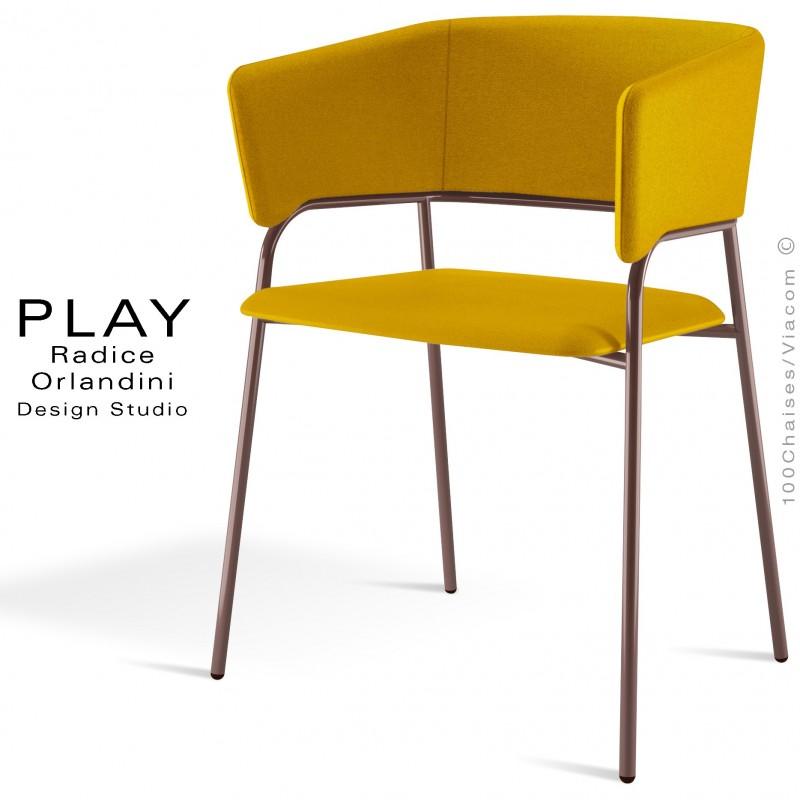 Fauteuil confort PLAY piétement 4 pieds peint marron, assise et dossier garnie, habillage tissu laine couleur jaune