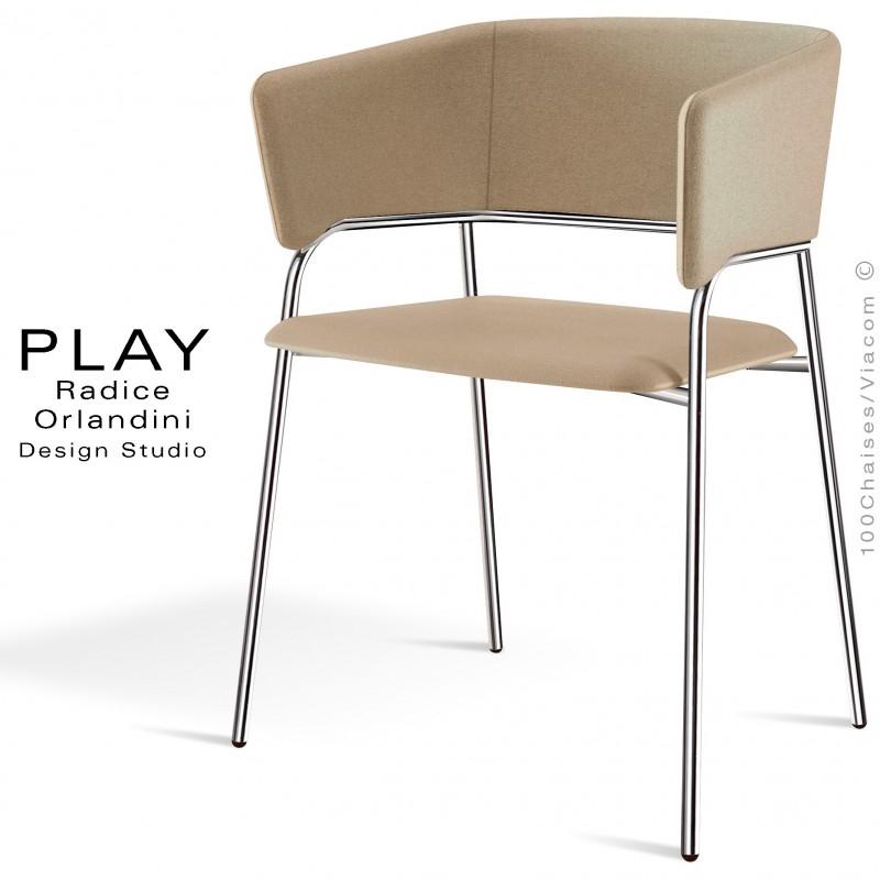 Fauteuil confort PLAY piétement 4 pieds chromé, assise et dossier garnie, habillage tissu laine couleur beige