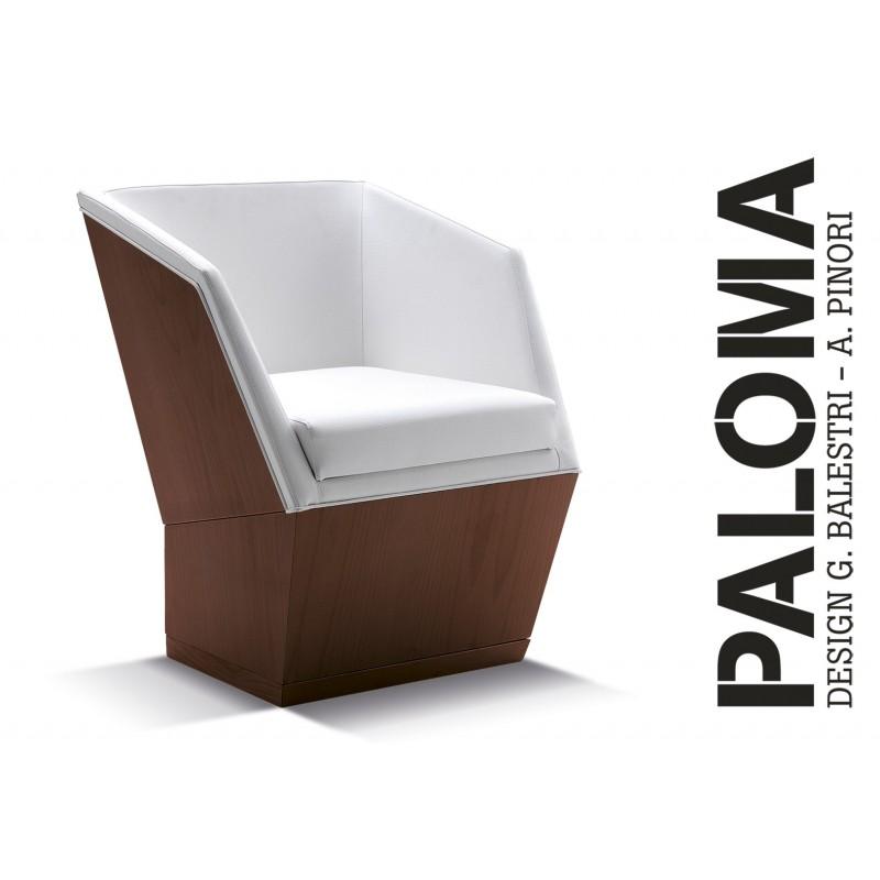 PALOMA - Hêtre, habillage cuir T1/309, finition bois teinte acajou.