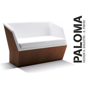 PALOMA banquette en bois de hêtre, habillage tissu gamme T2, finition bois acajou.