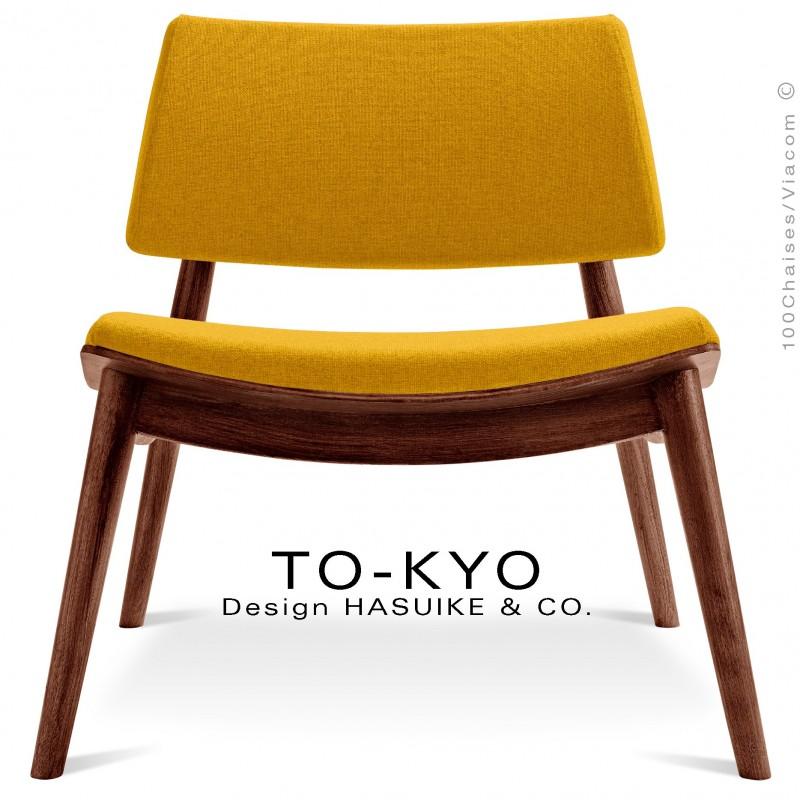 Chaise lounge pour salle d'attente TO-KYO bois teinté noyer, assise et dossier garnis, habillage tissu synthétique jaune.