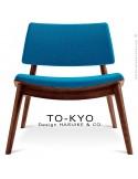Chaise lounge pour salle d'attente TO-KYO bois teinté noyer, assise et dossier garnis, habillage tissu synthétique bleu.