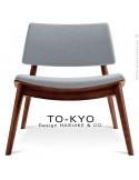 Chaise lounge pour salle d'attente TO-KYO bois teinté noyer, assise et dossier garnis, habillage tissu synthétique glace.