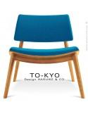Chaise lounge pour salle d'attente TO-KYO bois naturel, assise et dossier garnis, habillage tissu synthétique bleu.