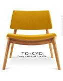 Chaise lounge pour salle d'attente TO-KYO bois naturel, assise et dossier garnis, habillage tissu synthétique jaune.