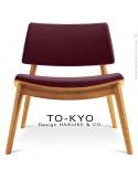 Chaise lounge pour salle d'attente TO-KYO bois naturel, assise et dossier garnis, habillage tissu synthétique marron
