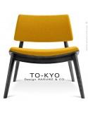 Chaise lounge pour salle d'attente TO-KYO bois teinté noir, assise et dossier garnis, habillage tissu synthétique jaune.