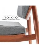 Chaise lounge pour salle d'attente TO-KYO bois teinté noyer, assise et dossier garnis, habillage tissu.