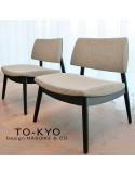 Exemple situation salon d'attente chaise lounge TO-KYO bois teinté noir, assise et dossier garnis, habillage tissu.
