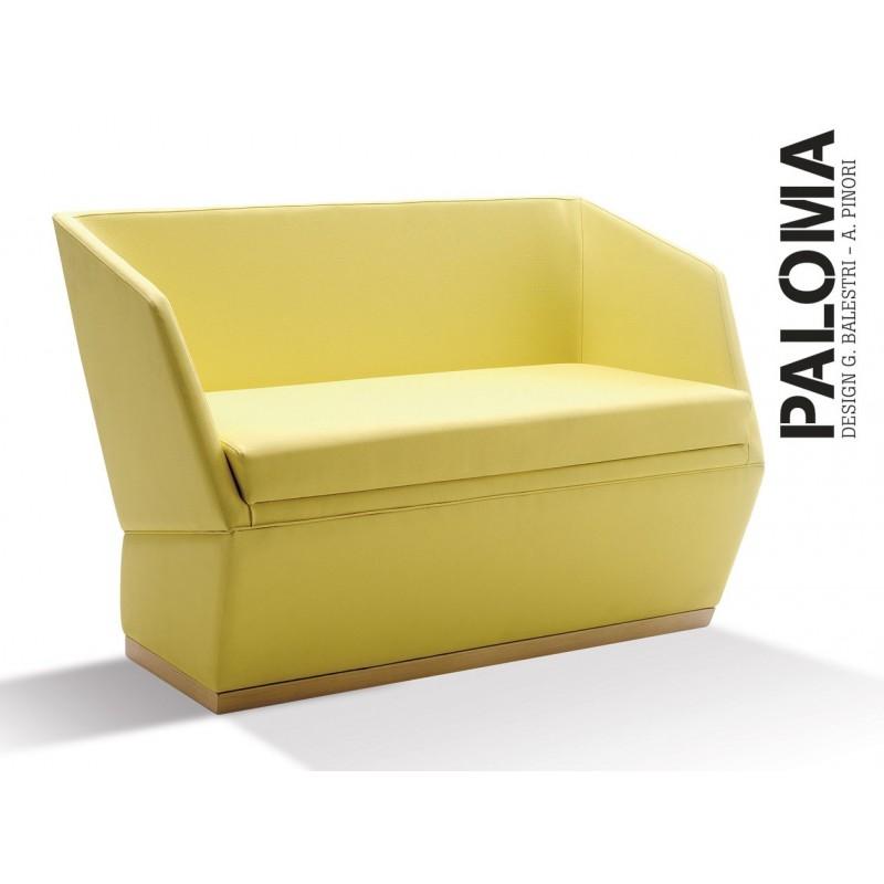 PALOMA banquette - Cuir habillage gamme T1 - réf.: 313, teinte bois au choix voir palette.