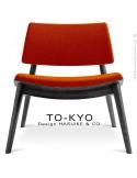 Chaise lounge pour salle d'attente TO-KYO bois teinté noir, assise et dossier garnis, habillage tissu synthétique brique.