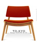 Chaise lounge pour salle d'attente TO-KYO bois naturel, assise et dossier garnis, habillage tissu synthétique brique.