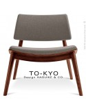Chaise lounge pour salle d'attente TO-KYO bois teinté noyer, assise et dossier garnis, habillage tissu synthétique gris.