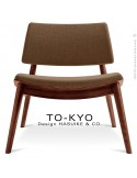 Chaise lounge pour salle d'attente TO-KYO bois teinté noyer, assise et dossier garnis, habillage tissu synthétique marron.