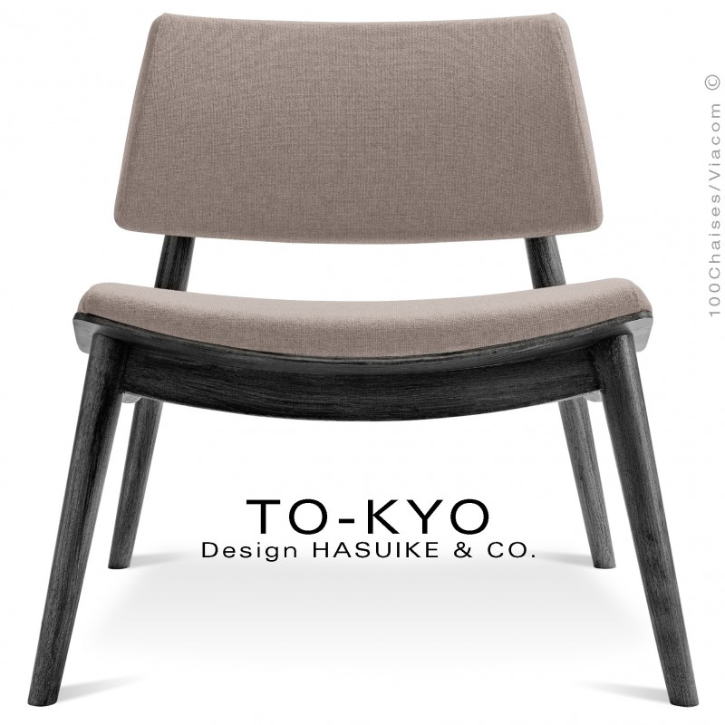 Chaise lounge pour salle d'attente TO-KYO bois teinté noir, assise et dossier garnis, habillage tissu synthétique corde.