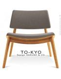 Chaise lounge pour salle d'attente TO-KYO bois naturel, assise et dossier garnis, habillage tissu synthétique gris.