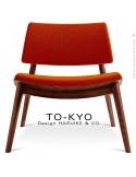 Chaise lounge pour salle d'attente TO-KYO bois teinté noyer, assise et dossier garnis, habillage tissu synthétique brique.