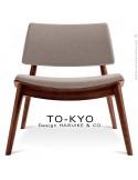 Chaise lounge pour salle d'attente TO-KYO bois teinté noyer, assise et dossier garnis, habillage tissu synthétique corde.