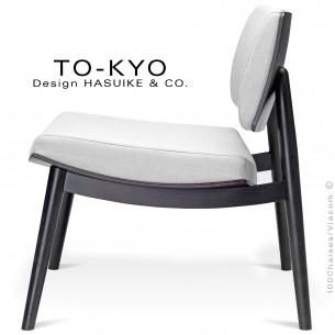 Chaise lounge pour salle d'attente TO-KYO bois teinté noir, assise et dossier garnis, habillage tissu.