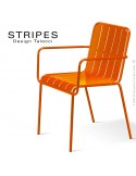 Fauteuil pour terrasse STRIPES piétement 4 pieds, structure acier peint orange, mobilier empilable - Lot de 4 pièces