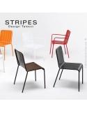 Fauteuil et chaise pour terrasse STRIPES piétement 4 pieds, structure acier peint, mobilier empilable - Lot de 4 pièces