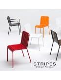 Fauteuil et chaise pour terrasse STRIPES, mobilier empilable - Lot de 4 pièces