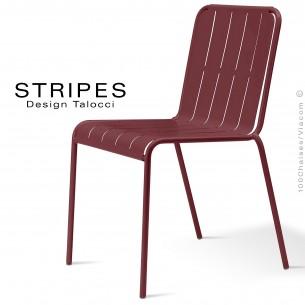 Chaise pour terrasse STRIPES piétement 4 pieds, structure acier peint marron, mobilier empilable - Lot de 4 pièces