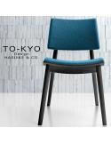Chaise pour salle de restaurant TO-KYO structure bois teinté noyer, assise et dossier garnis, habillage tissu.