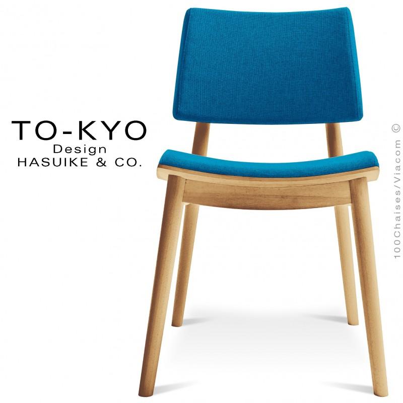 Chaise pour salle de restaurant TO-KYO structure bois teinté naturel, assise et dossier garnis, habillage tissu bleu.