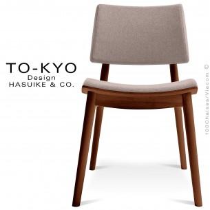 Chaise pour salle de restaurant TO-KYO structure bois teinté noyer, assise et dossier garnis, habillage tissu corde.