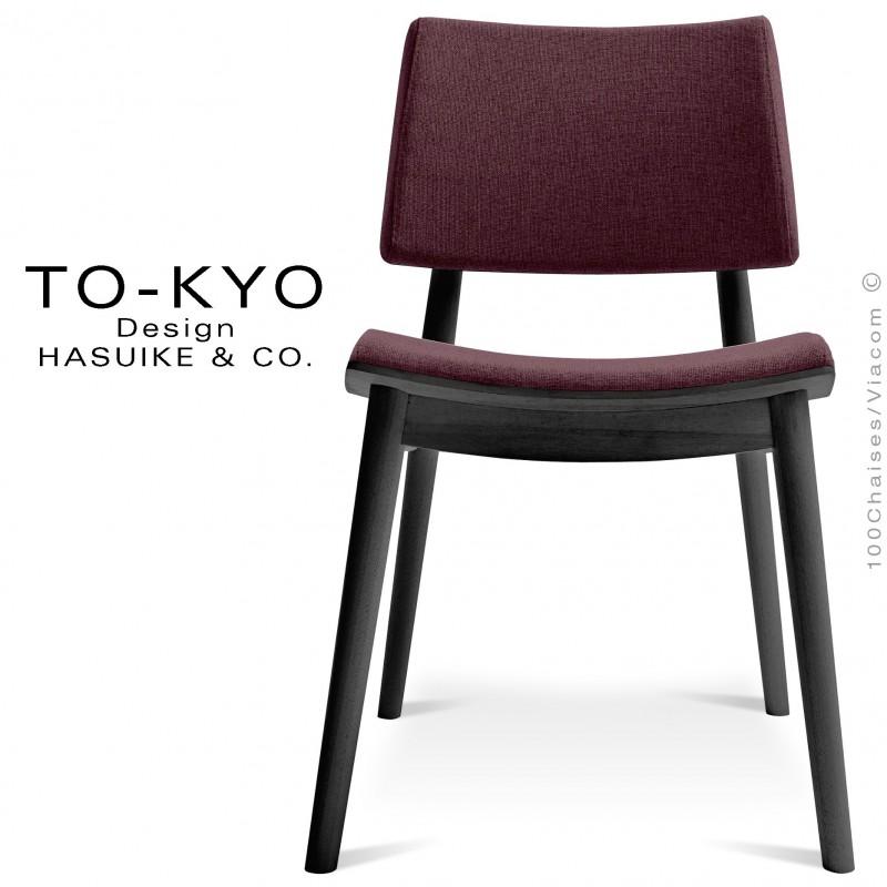 Chaise pour salle de restaurant TO-KYO structure bois teinté noir, assise et dossier garnis, habillage tissu marron.