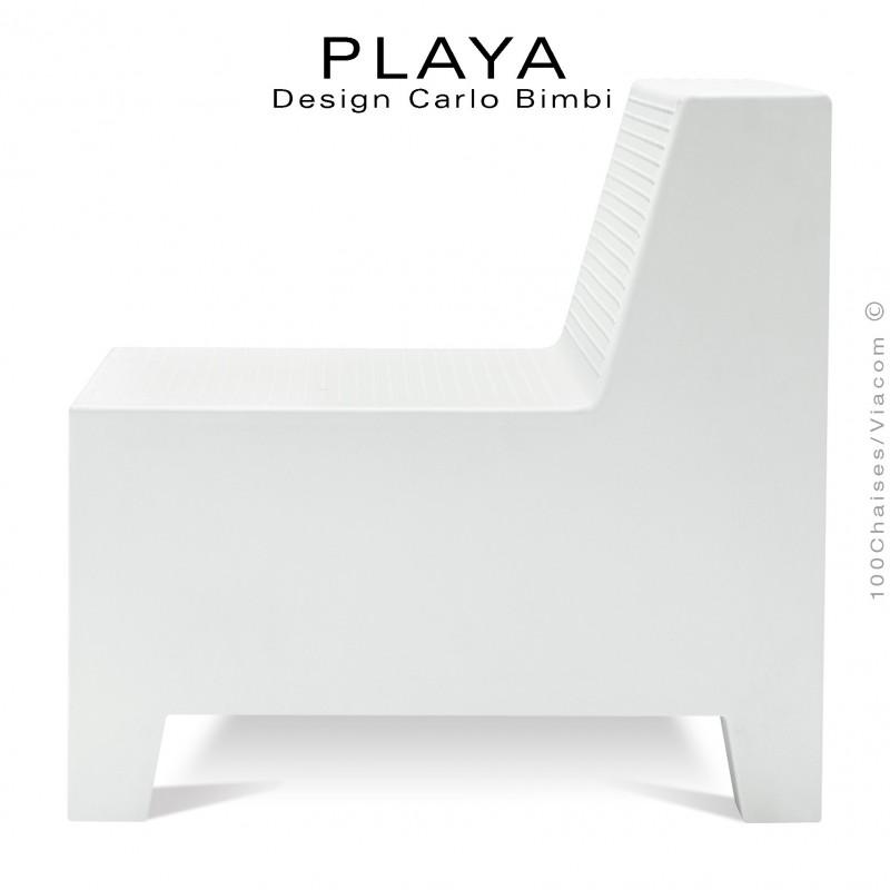 Banquette extérieur modulable PLAYA, structure plastique de couleur blanche sans coussin d'assise
