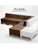 Exemple de composition banquette modulable pour extérieur PLAYA, structure plastique, sans coussin.