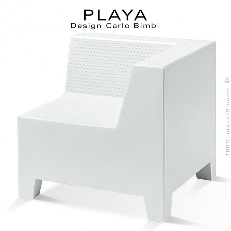 Banquette extérieur modulable d'angle PLAYA, structure plastique de couleur blanche.